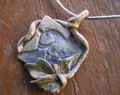 A Springtime Talisman Featuring a Magical Bird Spirit - An OOAK Stoneware Pendant Creation by Jarita