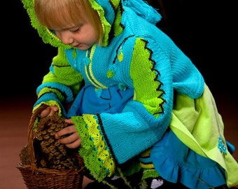 PATTERN Whimsical Forest. Owl Hand Knitted Jacket with Crochet details. Pattern in PDF Instant Download