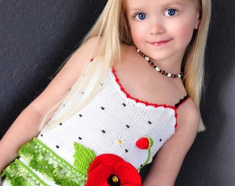 PATTERN Poppy Tank Top Sizes 2-12 Hand Knitted with Crocheted details Pattern in PDF