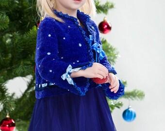 CROCHET PATTERN Holidays Royal Blue Liliana Jacket Sizes 2T-12 Years Pattern in PDF
