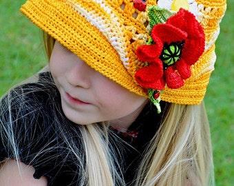 CROCHET PATTERN Double Fun in the Sun Crocheted Hat & Poppy Pin Set. Sizes Baby to Adult Pattern in PDF