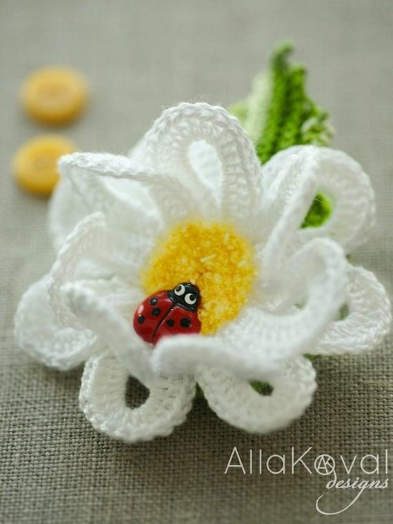 CROCHET PATTERN Garden Party. DAISY Pin/Headband Crochet Pattern in Pdf
