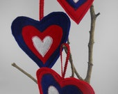 Heart Valentines Day Ornaments Red White Blue USA Set of 3 Patriotic
