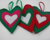 3 Heart Valentines Day Ornaments Felt Red Green White