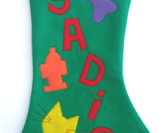 Personalized DOG Christmas Stocking  Felt Handmade Pet Gift Puppy