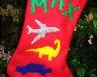 Boys Felt Christmas Stocking Personalized Gift Customized