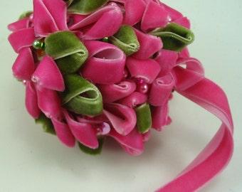 Pink Velvet Ribbon Valentine Hanging Flower Bud Decoration Ornament
