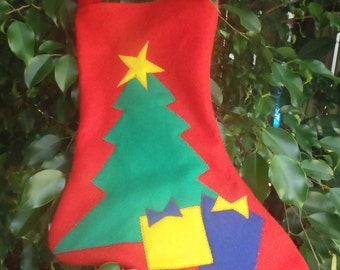 Felt Christmas Stocking Tree Gifts Red Green