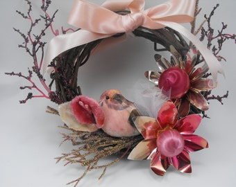 Pink Wreath Decoration Love Bird Unique Velvet Flowers Light Reflectors