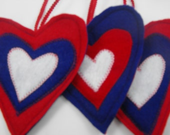 Heart 4th of July Ornaments Red White Blue USA Set of 3 Patriotic Decorations