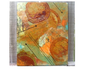 Collage with Altered Papers and Rusty Papers  WHICH WAY