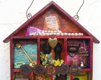 HOUSE of LOVE Mixed Media Collage Shadowbox