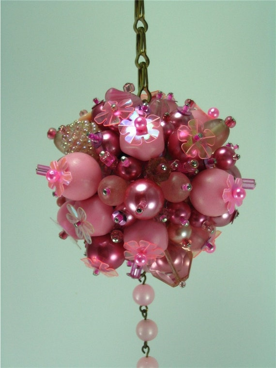 Funky pink beaded christmas ornament ball and chain
