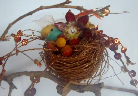Bird Nest Christmas Ornament With Enamel Flower Clip On Repurposed