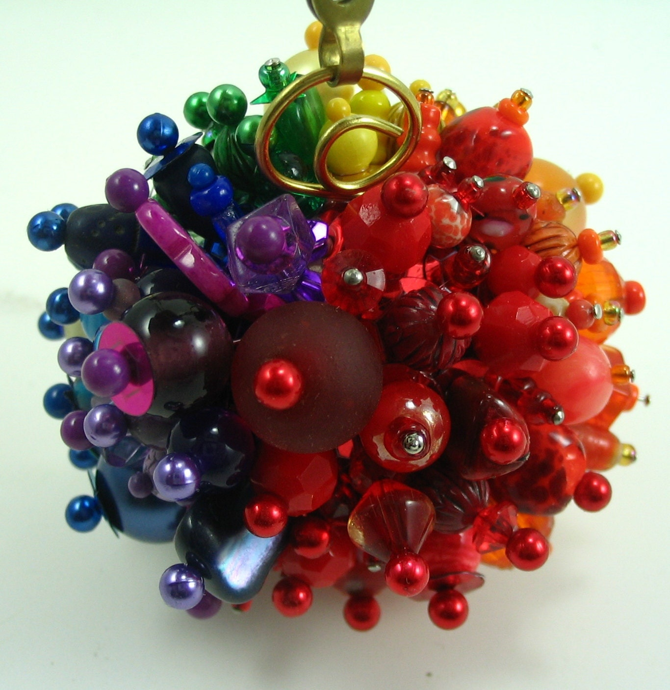 Rainbow beaded christmas ornament decoration funky ball and