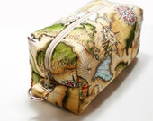 Zipper Box Pouch Project or Travel Case World Map
