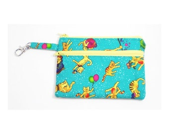 Larger Zippered Wallet Change Purse Gadget Case Cats on Turquoise