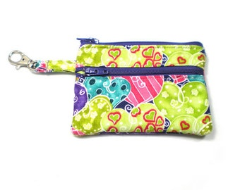 Small Zippered Wallet Change Purse Gadget Case Lime Green Purple Pink Hearts Print