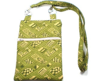 iPhone Cell Phone Case, Smartphone Phone Purse, Small Cross Body Bag, Adjustable Strap, Olive Green and Tan