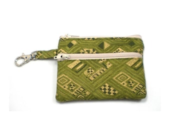 Small Zippered Wallet Change Purse Gadget Case Case Olive Green and Tan