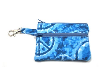 Small Zippered Wallet Change Purse Gadget Case Peace Signs on Denim Blue