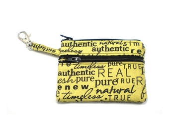 Small Zippered Wallet Change Purse Gadget Case Black Words on Pear Green