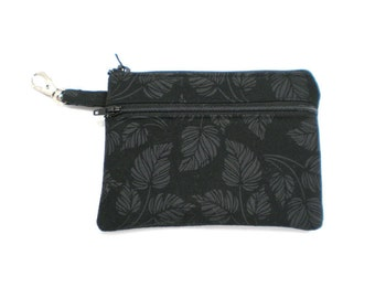 Larger Zippered Wallet Change Purse Gadget Case Black with Gray Leaves
