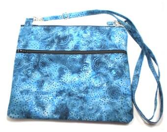 Ipad Purse, Tablet Bag, Cross Body Purse, Adjustable Strap, Blue Batik
