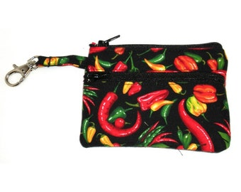 Small Zippered Wallet Change Purse Gadget Case Peppers on Black