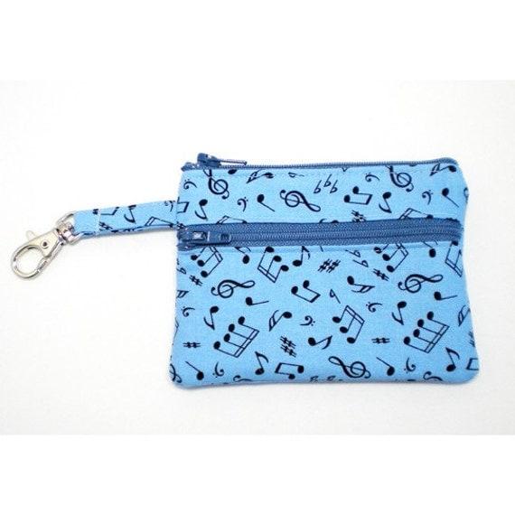 Zippered Wallet Change Purse Gadget Case Music Symbols on Blue