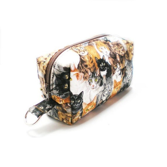 Small Zipper Box Pouch Project or Travel Case Brown Cat Faces