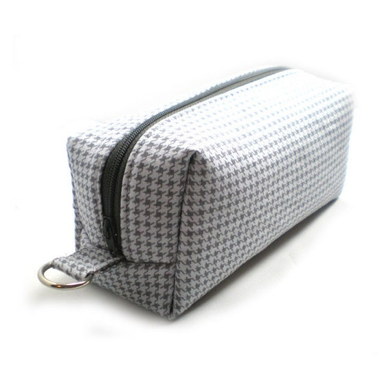 Medium Zipper Box Pouch Project or Travel Case Shades of Gray Houndstooth