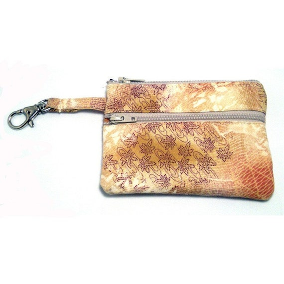 Zippered Wallet Change Purse Gadget Case Beige with Purple and Coral Accents