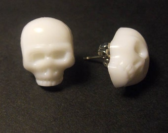White Skull Earrings