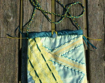 Green, Yellow Purse with Vintage Lace