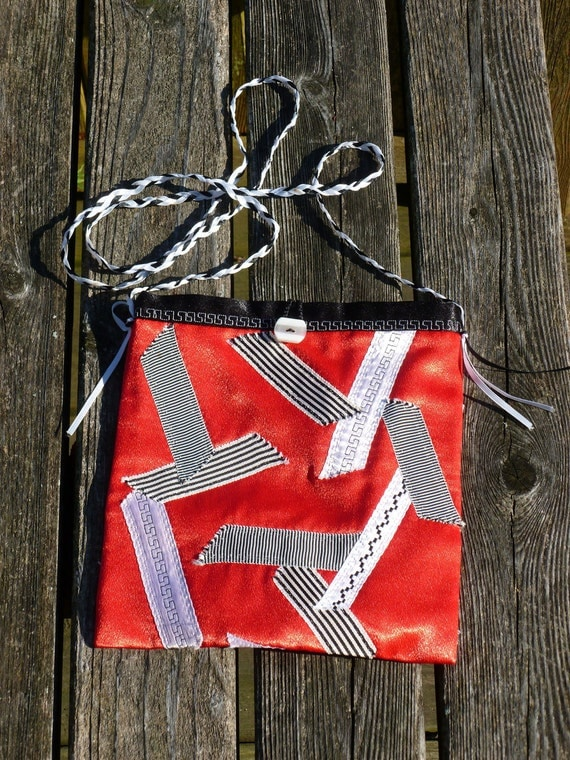 Red Black Purse with Vintage Ribbon