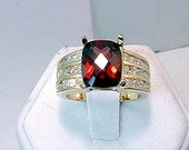 3 Carat RED Pyrope Almandine Garnet 14K gold Diamond ring  066