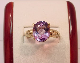 AAA Amethyst   13x10mm  6.29 Carats   14K gold floral ring   026