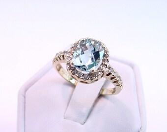 SANTA MARIA Blue Aquamarine   1.80 Carats   14K yellow gold diamond ring  071 MMM