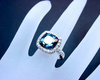 London Blue Topaz   5.36 Carats   14K White gold diamond (.45ct) Ring 0803