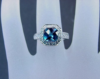 Dark London Blue Topaz   7x7mm  1.58 Carats   in 14K white gold and diamond ring .60 carats C77 0804 MMMM