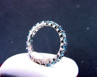 AAAA Blue Aquamarine Eternity band 3.0mm 2.0 Carats in 14K white gold