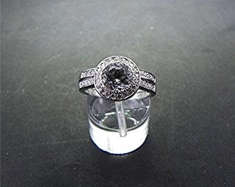 AAA Round White Topaz Brilliant cut   7.00mm  1.55 Carats   14K white gold diamond bridal set. B007 0417