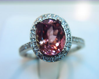 Natural Salmon Pink Rubellite Red Tourmaline 2.88 Carat 10 X 8mm. in a 14k White gold ring with diamonds (.33ct) 0326 MMM