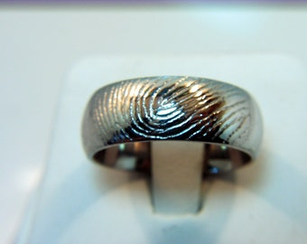 White gold 18K 8mm Wedding Ring with YOUR Fingerprint hand  engrave into the ring.