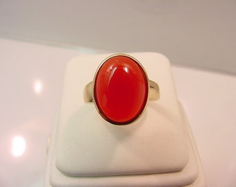 Carnelian 16x12mm in 14K yellow gold ring, also available in White gold 0240 MMM