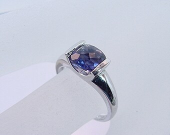 AAAA Blue Iolite   7x7mm  1.24 Carats   Cushion Cut set in 14K white gold ring 0426 MMMM