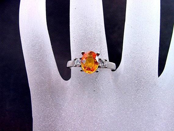 8x6mm 1.46ct Oval AAA Spessartite garnet 14K white gold diamond (.16ct) ring C863 0607