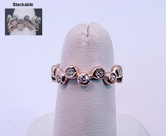 Reserved listing for Andibb11 CUSTOM 14K Rose gold Stackable Diamond anniverary eternity band  .60 CT TW