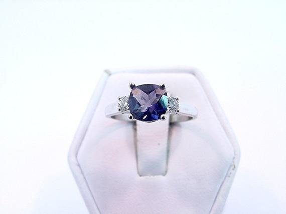 AAAA 1.08 ct Blue Iolite Diamond 14K white gold ring 0727